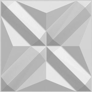 Dundee Decor Falkirk Fifer Geometric Diamonds 3D Wall Panel - 1.6-ft x 1.6-ft - Off-White - 1-Pack