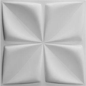 Dundee Decor Falkirk Fifer Geometric Flowers 3D Wall Panel - 1.6-ft x 1.6-ft - Off-White - 10-Pack