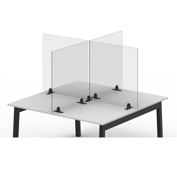 Luxor Reclaim Acrylic Tabletop Sneeze Guard Desk Divider - 24-in x 24-in - Clear