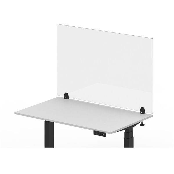 """Luxor Reclaim Acrylic Clamp-On Sneeze Guard Desk Divider - 48"""" x 30"""" - Clear"""