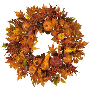 Nearly Natural Harvest Wreath - 28-in - Orange