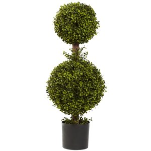 Nearly Natural Double Boxwood Topiary - 35-in - Green
