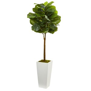 Nearly Natural Fiddle Leaf Artificial Tree with White Tower Planter - 4-ft - Green