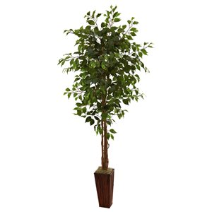 Nearly Natural Ficus Tree with Bamboo Planter -6-ft - Green