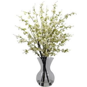 Nearly Natural Cherry Blossoms with Vase Arrangement - 30-in - White