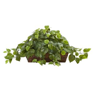 Nearly Natural Pothos with Ledge Basket - 15-in - Green