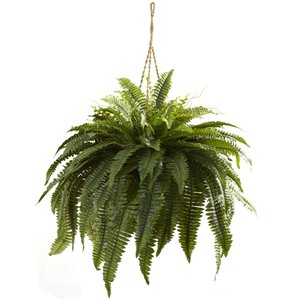 Nearly Natural Double Giant Boston Fern Hanging Basket - 29-in - Green