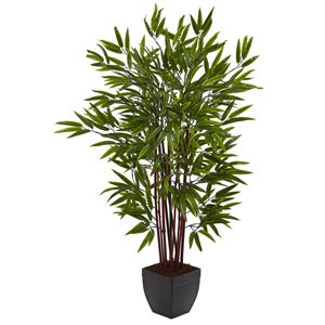 Nearly Natural Bamboo Silk Tree with Planter - 4-ft - Green