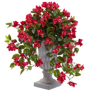Nearly Natural Bougainvillea Flowering Silk Plant with Decorative Urn - Indoor/Outdoor - 28-in - Red