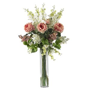 Nearly Natural Rose, Delphinium and Lilac Solk Flower Arrangement - 38-in - Pink
