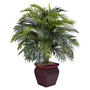 Nearly Natural Areca Palm with Decorative Planter - 38-in - Green