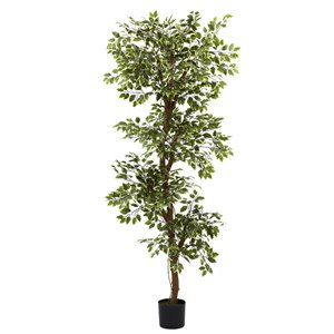 Nearly Natural Ficus Tree -6-ft - Green