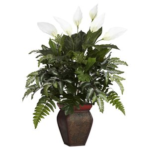 Nearly Natural Mixed Greens with Spathiphyllum and Decorative Vase - 29-in - Green