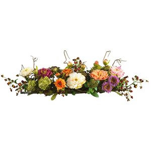 Nearly Natural Mixed Peony Centrepiece Silk Flower Arrangement - 6.5-in - Orange and Cream