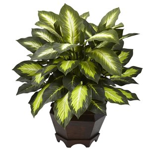 Nearly Natural Triple Golden Dieffenbachia with Wood Vase - 22-in - Green