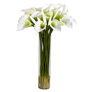 Nearly Natural Calla Lily with Cylinder Silk Flower Arrangement - 27-in - Cream