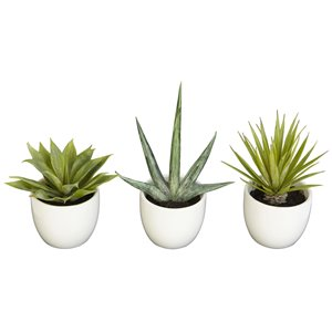 Nearly Natural Succulent Southwest Collection - 8.5-in - Green - Set of 3