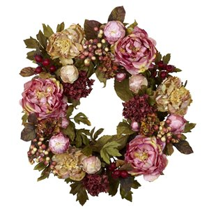 Nearly Natural Hydrangea and Peony Wreath - 24-in - Pink and Burgundy