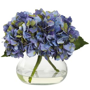 Nearly Natural Blooming Hydrangea with Vase - 8.5-in - Blue