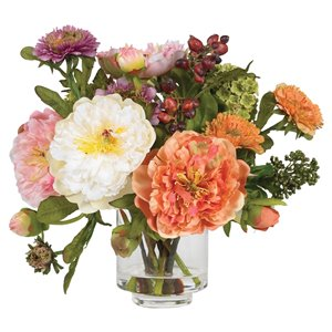 Nearly Natural Peony Silk Arrangement - 10-in - Peach and White