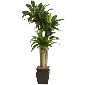 Nearly Natural Corn Stalk Dracaena Silk Plant with Vase - 4.5-ft - Green