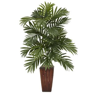 Nearly Natural Areca Palm with Bamboo Vase - 32-in - Green