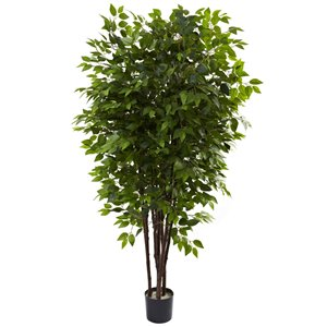 Nearly Natural Deluxe Ficus Artificial Tree - 6.5-ft - Green