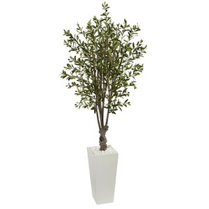 Nearly Natural Olive Artificial Tree in White Tower Planter - 6-ft - Green