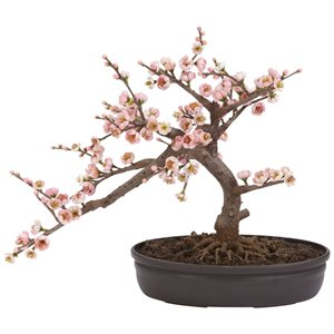 Nearly Natural Cherry Blossom Bonsai Silk Tree - 15-in - Pink