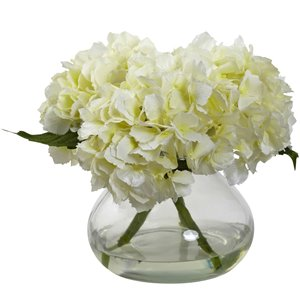 Nearly Natural Blooming Hydrangea with Vase - 8.5-in - Cream