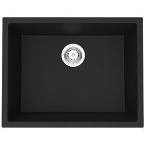 American Imaginations 18-in x 23-in Transitional Black Granite Composite Single Bowl Drop-In Residential Kitchen Sink