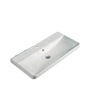 Dessus de meuble-lavabo moderne American Imaginations, monotrou, argile réfractaire, 15,55 po x 31,89 po, blanc