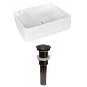 Lavabo de salle de bain vasque rectangulaire de American Imaginations, 13 po, quincaillerie bronze poli