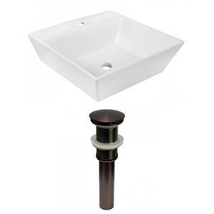 American Imaginations White Vessel Square Bathroom Sink - Bronze Hardware - 16.5-in