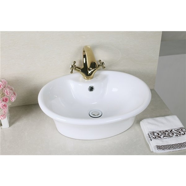 American Imginations American Imaginations White Vessel Round Bathroom Sink White Hardware 15 5 In Overflow Included Ai 31326 Rona