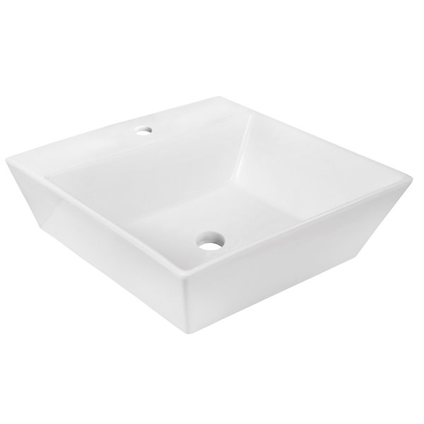 Lavabo de salle de bain vasque carré de American Imaginations, 16,5 po, quincaillerie blanc poli