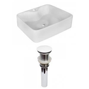 American Imaginations White Vessel Rectangular Bathroom Sink - White Hardware - 14.75-in