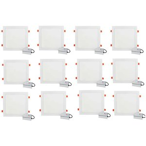 Lumières carrées semi-encastrées de 12 po de American Imaginations, aluminium, blanc, 12 mcx