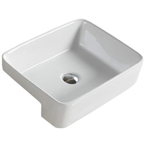American Imaginations Trendy White Drop-In/Undermount Rectangular Bathroom Sink - Chrome Hardware - 13.4-in - Overflow Included