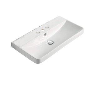 Dessus de meuble-lavabo tendance American Imaginations, petit robinet 4po, argile réfractaire, 13,98 po x 23,82 po, blanc