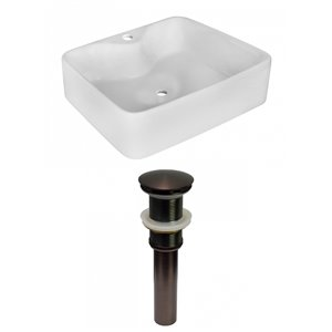 Lavabo de salle de bain vasque rectangulaire de American Imaginations, 14,75 po, quincaillerie bronze poli