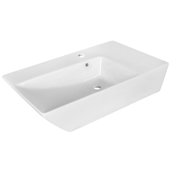 Lavabo moderne de salle de bain vasque rectangulaire de American Imaginations, 15,5 po, quincaillerie nickel poli