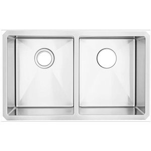 American Imaginations 20-in x 29-in Trendy Brushed Nickel Double Equal Bowl Drop-In Residential Kitchen Sink