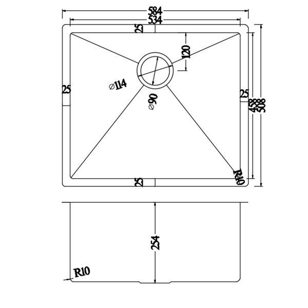 Évier de lessive encastré de American Imaginations, 23 po x 20 po, calibre 18, nickel brossé