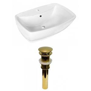 Lavabo de salle de bain vasque rectangulaire de American Imaginations, 15,75 po, quincaillerie dorée