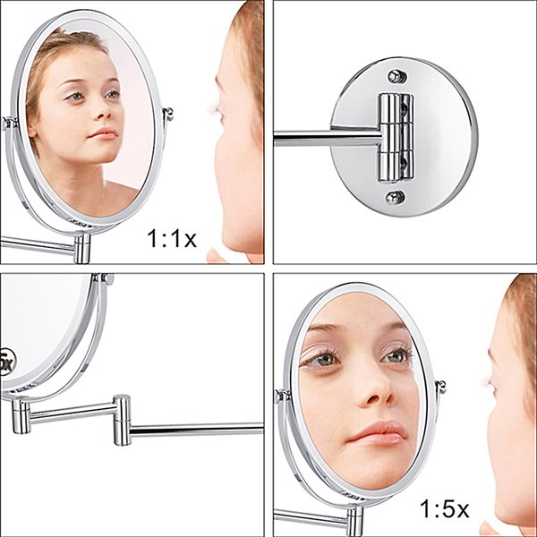 Miroir grossissant American Imaginations, éclairé, 16,95 po, nickel brossé
