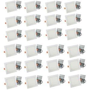 Lumières carrées semi-encastrées de 4 po de American Imaginations, aluminium, blanc, 24 mcx