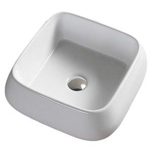 Lavabo de salle de bain vasque carré de American Imaginations, 16,14 po, quincaillerie chrome poli