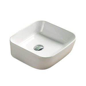 Lavabo moderne de salle de bain vasque rectangulaire de American Imaginations, 13,86 po, quincaillerie chrome poli