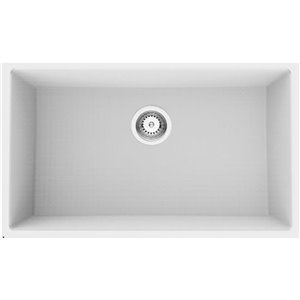 American Imaginations 18-in x 30-in Chic White Granite Composite Single Bowl Drop-In Residential Kitchen Sink